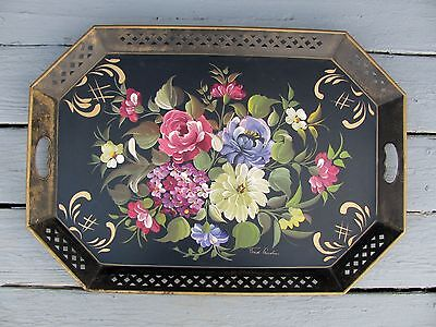 Vintage Fred Austin Artist Signed Summer Flowers Nashco Large Metal Tole Tray