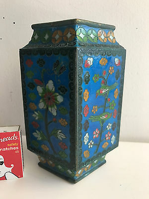 cloisonne vase diamond shape old vase 15.25 cms high