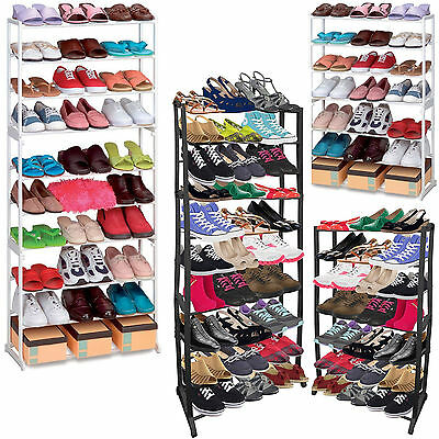 New 7 / 10 Tier Shoe Rack Storage Organiser Stand Shelf Pairs Shoe Trainers