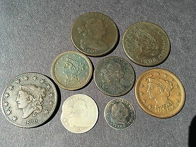 8 TYPE COINS w/ 1795 FLOWING HAIR HALF DIME and 1805 DRAPED BUST DIME