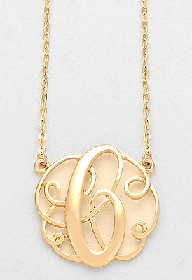 Monogram initial necklace gold letter c script circle 15pendant monogram initial necklace gold letter c script circle 15pendant personalized aloadofball Gallery