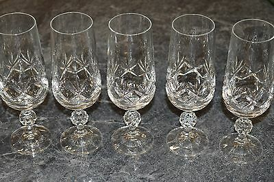Set Of 5 Bohemia Crystal Pineapple Pattern Cut Champagne Flutes Glasses
