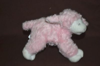"Gund Baby Pink  ""Winky"" Lamb / Sheep Rattle 8"" Soft Stuffed Plush #58131"