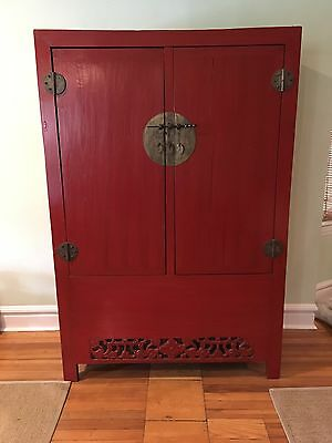 Antique Chinese Asian Red Armoire Wedding Wardrobe Cabinet