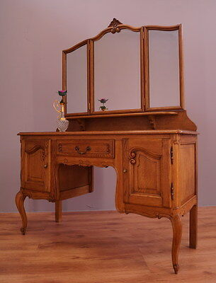 1826 !! Amazing Oak Dressing Table With Mirror In Louis Xv Style !!