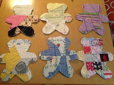 "Set 6 Antique Vintage Quilt Bears To Applique' 7"" Tall"