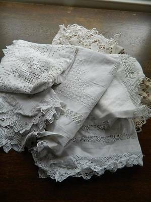 Bundle 8 items vintage white table linen lace & embroidery 2 cloths toppers