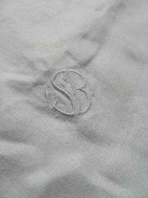 "Antique white Irish linen damask tablecloth -  satin stripe - monogram ""S.B."""