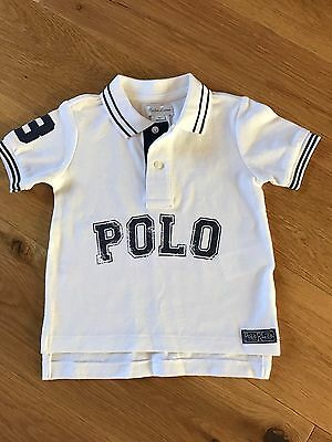 RALPH LAUREN BABY BOYS POLO SHIRT 18 MONTHS White And Blue