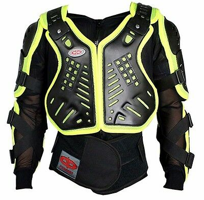 Night Visibility Perrini Green CE Approved Full Body Armor Motorcycle Jacket