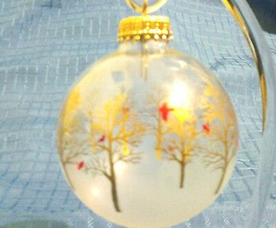 Cardinal Gold Tree 3 in Christmas Ornament Clear Ball