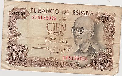 Spain 1970 100 Pesetas Serial # 5T8135328. Foreign world paper currency.