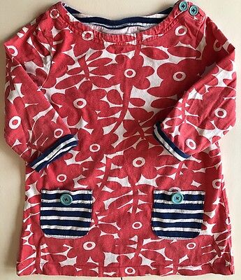 Mini Boden Girls 3/4 Sleeve Red Flower Print Tunic Dress.  Size 5-6Y.
