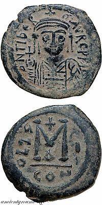 BYZANTINE COIN AE FOLLIS MAURICE TIBERIUS CONSTANTINOPLE 583-584 AD YEAR 1st