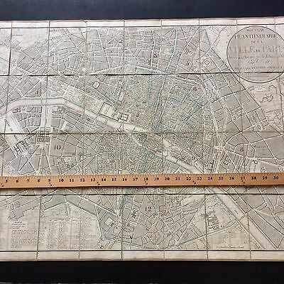 1837 Rare Large Antique Plan Of Paris Original Colors Beautiful Map.