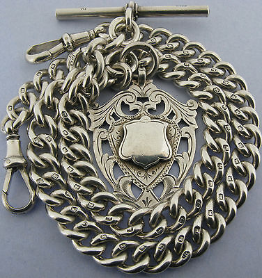 Antique Solid Silver Double Pocket Watch Chain T-Bar & Fob Bir 1920 60 grams