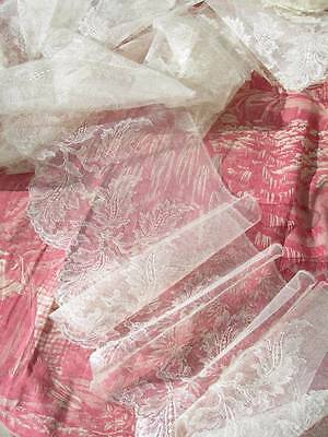 A collection of handmade antique Belgian lace.. 722cms silk wedding lace