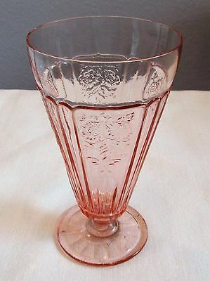 """Vintage Depression Mayfair Open Rose Pink Footed Ice Tea 6 3/4"""" Exc Condition"""