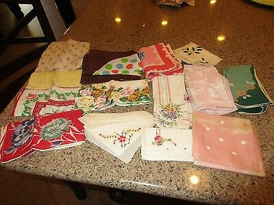 Lot of 12 Antique Vintage Handkerchiefs, Hankies, Embroidery, Floral Printed old
