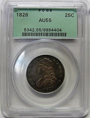 Amazing 1828 Capped Bust Silver Quarter Graded AU55 by PCGS Stunning Coin