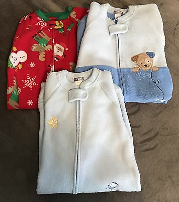 Three Carters Size 0-9 Months Fleece Baby Gowns