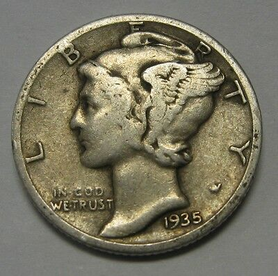 1935-S Mercury Head Silver Dime Grading in the VG/FINE Range Nice Original Coins
