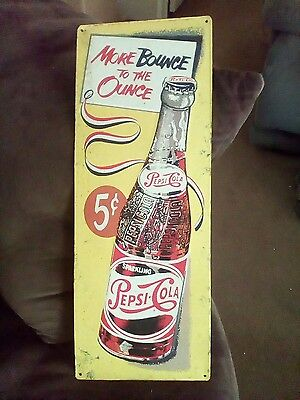 """Vintage 50s PEPSI Pepsi-Cola TIN Advertising SIGN """"More Bounce To the Ounce"""""""