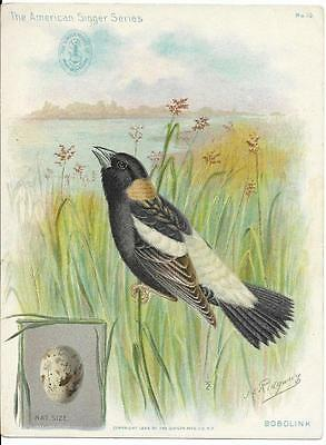 Singer Sewing Machine - American Singer Trade Card (1898)  Bobolink