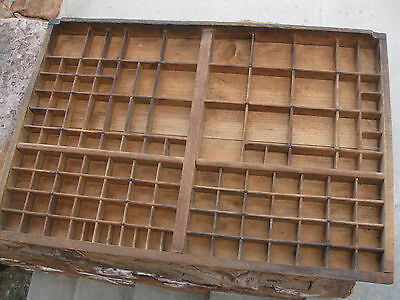 Antique  Wood Letterpress Printing Press Drawer Tray Shadow Box -Switzerland