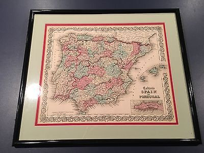 "Antique J.H. Colton Map of Spain & Portugal 1855 Framed Matted 21"" x 17.75"""