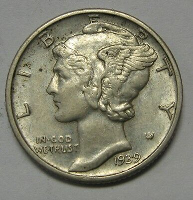 1939 Mercury Head Silver Dime Grading in the AU Range Nice Original Coins