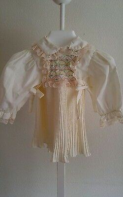 Vintage Polly Flinders Hand Smocked Pleated Baby Girl Doll Dress ~6-12 Mths