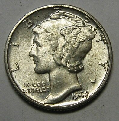 1942-D Mercury Head Silver Dime Grading Choice Uncirculated Nice Original Coins