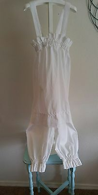 Vintage Handmade Girls White Pettipants and Pettifor set  for a dress. Size 8-10
