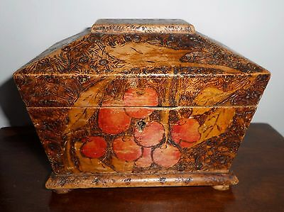 Antique Small Wooden Tea Caddy Two Compartment Foil Lined