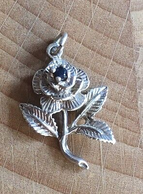 Vintage Sterling Silver Crystal Rose Flower Charm Pendant Beautiful