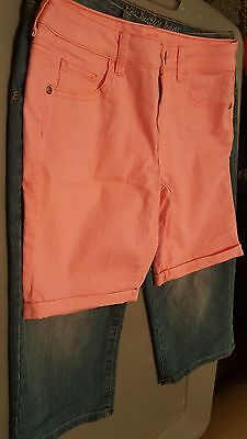2 pair of Girls Justice shorts size 12 1/2 pink blue great price