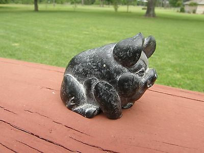 Collectable Hand-Carved Soapstone Pig Figurine BOMA of CANADA Signed Farm Animal
