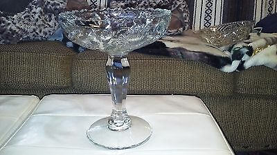 "VIntage Glass Compote Candy Dish 9"" Tall Cut Bird,Flower and Butterfly Design"