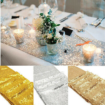 "Gold/Silver/Rose Glitter Sequin Table Runner 12""x108"" Sparkly Wedding Party Deco"