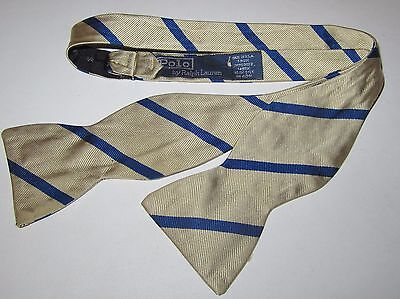 Polo Ralph Lauren 100% Silk Gold and Blue Striped Preppy Bow Tie