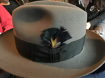 VINTAGE GRAY ROYAL STETSON WITH FEATHER FEDORA HAT SIZE 7 No BOX