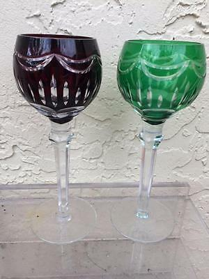 2 Vintage Czech Bohemian Wine Glasses Burgundy and  Green Crystal Cut To Clear,