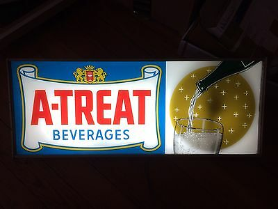 A-Treat Beverages Soda Motion Sign Vintage Allentown Pennsylvania Diner Bar
