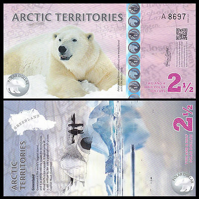 Arctic Territories 2.5 Dollar, 2013, Polymer Note, Unc Polar Bear, Free Shipping