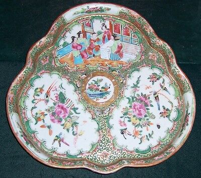 Vintage 19th Century Chinese Export Rose Medallion Lobed Tray