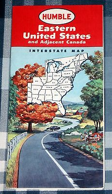 Humble Oil Eastern United States & Canada Interstate 24X33 Map 1958 Vintage