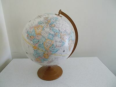 Vintage Globemaster 12 Inch Diameter Replogle Globe, Raised Relief, Metal Base