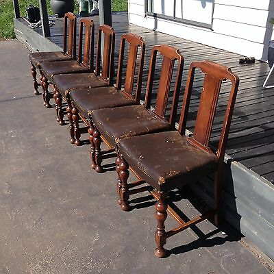6 Old Dining Chairs I Believe 30's All need Recovering Otherwise In Good Conditi