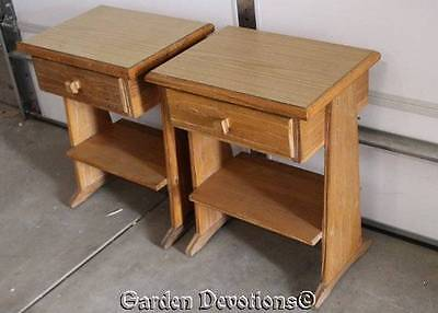 Set of 2 Night Stands VINTAGE RANCH BRANDT OAK *Texas* End Side Table